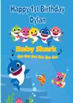 Personalised Blue Text Baby Shark Birthday Card